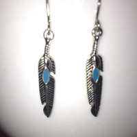 SALE: Silver Turquoise Feather Charm Earrings