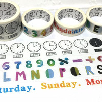 4 rolls number alphabet weekly planner Washi tape timetable time schedule maker daily task school study class meeting planner sticker tapes