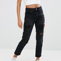 Boohoo Rip And Patch Jeans at asos.com