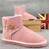 UGG Trending Woman Fur Leather Shoes Boots Winter Half Boots Shoes G-XYXY-FTQ-1