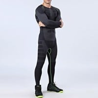Yuerlian Men's Running Sets 2 pieces/sets Compression Sports Suits Men Basketball Tights Clothes Gym Fitness Jogging Sportswear