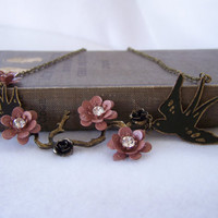Antiqued Gold Chain Bib Necklace with Birds and Roses - Handmade Jewelry - Ready to Ship