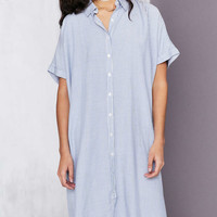 Silence + Noise Button-Down Cocoon Shirt Midi Dress - Urban Outfitters