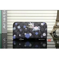 COACH Zipper Women Leather Purse Wallet Black Print I-LLBPFSH