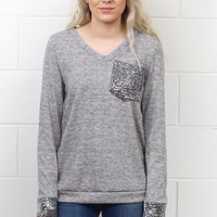 Time to Shine Sequin Pocket + Cuff Long Sleeve Knit {Grey}