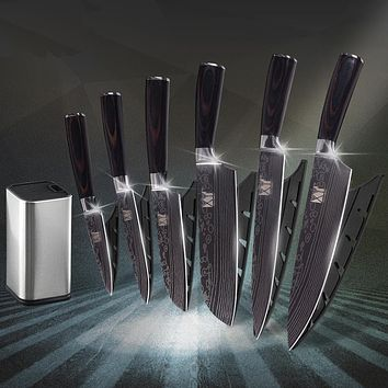 Kitchen Knife Damascus pattern and Holder - (60% OFF)
