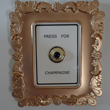"""square Gold frame """"Press for Champagne"""" doorbell wall decor"""