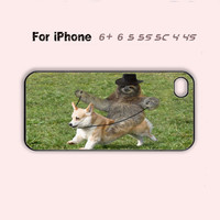 Funny Sloth Riding  Dog Cute Phone Case iPhone 4 4s 5 5s 5c 6 Plus Cover-5 Colors Available