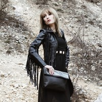 Point Collar Leather Look Fringed Jacket