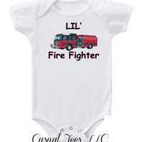 Lil Fire Fighter Baby Bodysuit or Toddler Tee