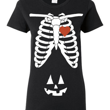 Awesome Halloween XRAY Skeleton Cage Tshirt With JackOLantern Makes Great Gift Pregnancy Gift Awesome Skeleton Costume Shirt Happy Halloween