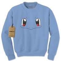 Squirtle Blue Pokemon Funny Face Adult Crewneck Sweatshirt