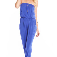 SUNSET BLUE STRAPLESS BLOUSON JUMPSUIT ( MADE FROM BAMBOO )