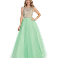 Preorder -  Mint Green & Nude Sheer Embellished Open Back Gown  2015 Prom Dresses