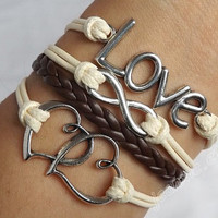 Soulmate couple bracelets-Antique silver LOVE and infinite causal relationship bracelet, Heart to Heart , leather bracelet J-115