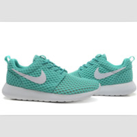 NIKE Roshe Run cellular breathable running shoes Green and white