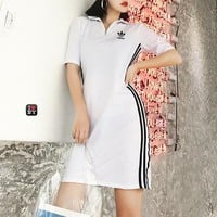 """Adidas"" Women Sport Casual Fashion Multicolor Stripe Short Sleeve Zip Lapel Bodycon Dress"