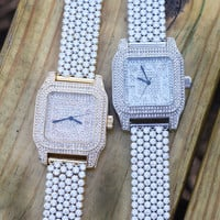 Square Dial Lab Diamond Flower Style Iced Men Watch