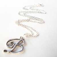 Initial B Necklace letter B jewelry antiqued script silver pendant on silverplated chain personalized simple jewelry