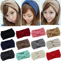 Fashion 12 Colors knit headband crochet winter warmer lady hairband Hair Band headwrap Women Ear Warmer Hair Muffs Band Headband