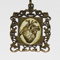 Anatomical Heart Rectangle Pendant Necklace