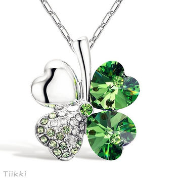 New Elegant Green Crystal Leaf Lucky Rhinestone Four Leaf Clover Pendant Necklace = 1946257604