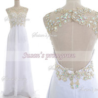 2014 Prom Dress,Straps Beads Backless White chiffon Long Dresses, Prom Dress,Evening Dress,Wedding Dress,Formal Dress,Evening Gown