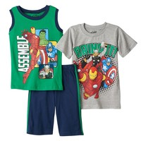 Marvel Avengers ''Bring It!'' Top & Knit Shorts Set - Toddler Boy, Size: