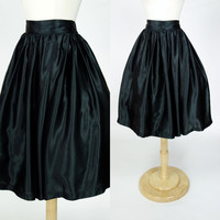 1980s black satin skirt, 80s does 50s fit and flare high waist poofy circle skirt w/ crinoline and side pockets, Medium, size 8