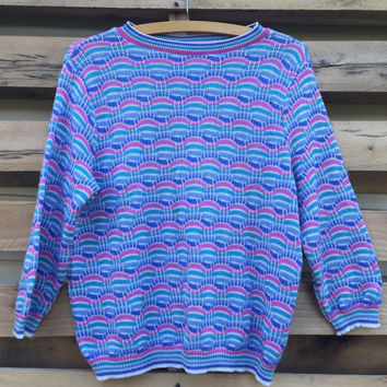 Vintage 80s Blossom Style Pastel Blue Purple Teal Color Three Quarter Sleeve Sweater by Devon
