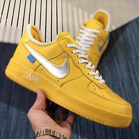 OFF-WHITE X Air Force 1 Hot Sale New Couple Stitching Color Low-Top Casual Sneakers