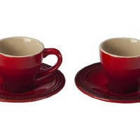Le Creuset Stoneware Set of 2 Espresso Cups and Saucers, Cherry