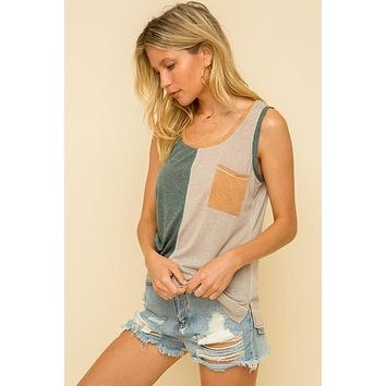 Teal and Taupe Color Block Tank with Mustard