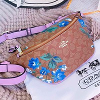 COACH New fashion pattern floral print waist bust bag shoulder bag crossbody bag