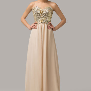 Floral Beaded Sequined Strapless Maxi Evening Dress