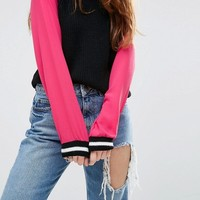 ASOS Jumper With Woven Sleeves at asos.com