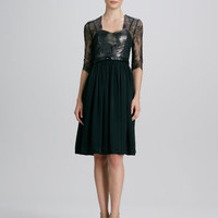 Lace Belted Tulle-Skirt Dress