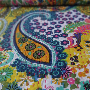 Handmade Paisley Printed Kantha Bedding, Bohemian Queen Size Kantha Quilt, Yellow Color Theme, Colorful Pattern, Indian Cotton Bed Cover