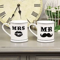 'Mr & Mrs' Moustache Wedding Mugs