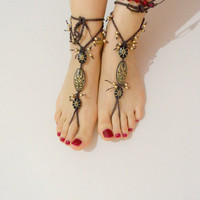 tribal sandals beach wedding gold anklet hippie yoga dance foot jewelry bohemian shoes made to order