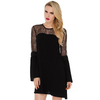 Black Trumpet Lace Sleeve Cut Out Back Dress