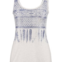 Ethnic Print And Feather Graphic Tank - White