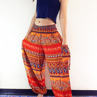 Women Harem Pants Yoga Pants Aladdin Pants Maxi Pants Baggy Pants Gypsy Pants Rayon Pants Genie Pant Hippie Pants Trouser Orange (TS59)