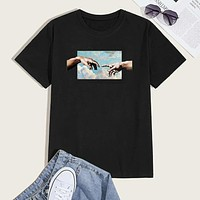 Fashion Casual Men Figure Graphic Short Sleeve Tee