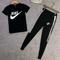 NIKE Trending Men Casual Print Short Sleeve Top Tee Pants Two-Piece Set Sportswear Black