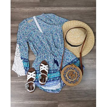 Final Sale - Reverse - Aqua Blue Boho Print Romper with Crochet Lace Bell Sleeves