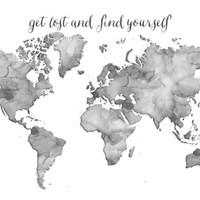 Black and white watercolor world map - get lost and find yourself Art Print by blursbyaiShop | Society6