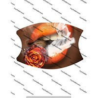 Rose Blunt Lips Face Mask Covering Adult Adjustable with Pocket Two Filters Nose Piece