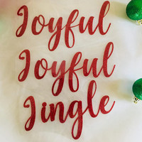 Christmas word iron ons, Jingle, Joyful, Merry, Jolly, Heat transfer Vinyl, Personalized Gift for Mom, Christmas shirts diy iron ons