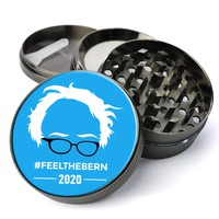 Feel The Bern Bernie Sanders 2020 Deluxe Metal 5 Piece Herb Grinder With Fine Screen - Create Your Own Grinder!